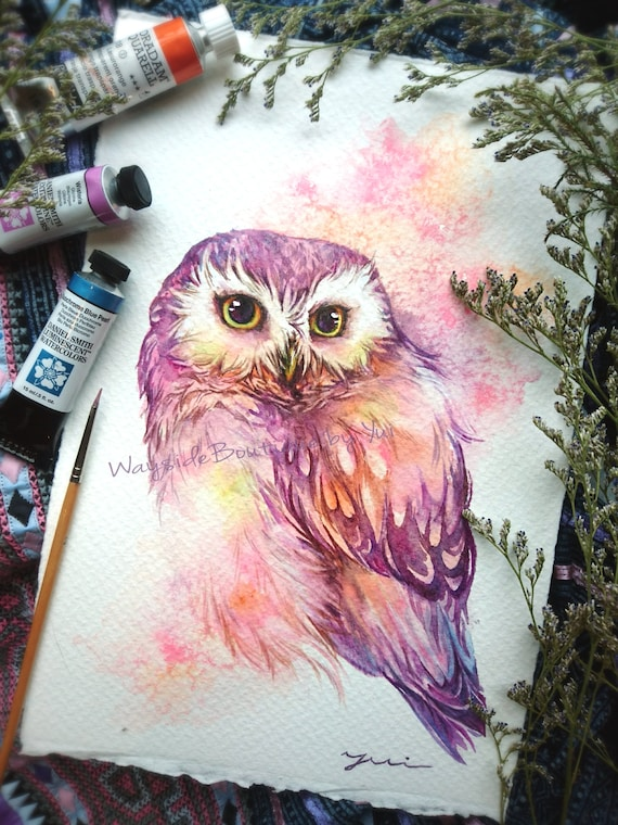 Bright sweet owl- ORIGINAL watercolor painting 7.5x11 inches
