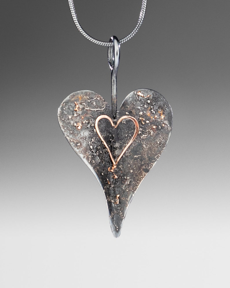 oxidized heart with 14kt Rose Gold Textured