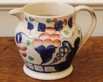 Antique Gaudy Welsh Pottery Jug,  Hand Painted, Oyster Pattern, 19th Century.