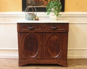 Antique Chestnut Marble Top Server Buffet with Carved Fruit Handles, American C.1860.