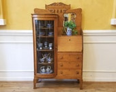 Antique Oak Side by Side Bow Front China Cabinet with Drop Front Bureau Desk, American C.1900