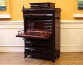 Antique Empire Flame Mahogany Secretaire a Abattant, Drop Front Desk, Bureau, Secretary, Chest, Early 18th Century.