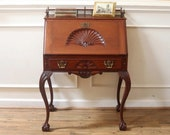 Antique Mahogany Secretary Ladies Writing Desk, Chippendale Style, Carved Shell, Ball and Claw, 19th Century.