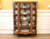 Antique Light Oak China Cabinet, Bow Front, Country Cottage Style, American C.1910