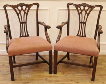 Antique Dining Chairs Carved Mahogany Chippendale Style Etsy
