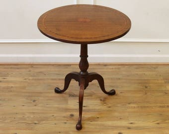 Antique Side Table, End Table, Small, Round, Pedestal, Inlaid Mahogany,  Tilt Top.