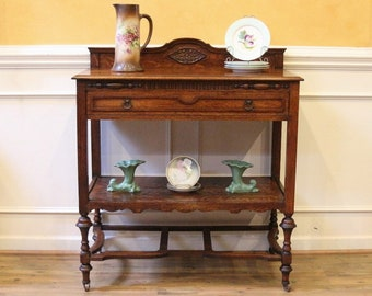 Antique Tiger Oak Server Console Hall Table, Buffet C.1900