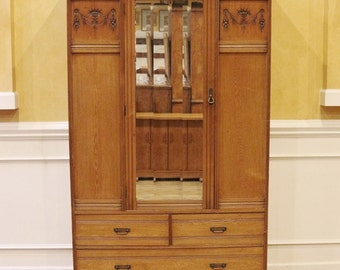 Antique English Carved Elm Wardrobe, Armoire, Late Victorian Country Style, C.1880