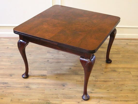 Antique English Pub Dining Table Queen Anne Burled Walnut Etsy - Burled walnut dining table