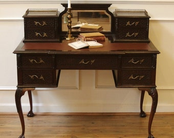 Antique Chippendale Desk, Ladies Writing Table. English, Carved Mahogany, leather top.