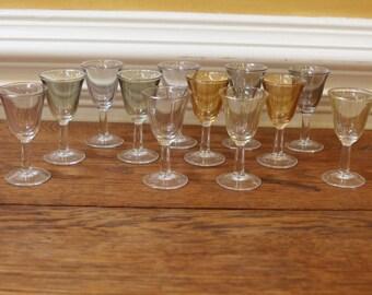 Vintage Aperitif Glasses, Small Stemmed Glasses, Art Deco style, Multicolored Barware, Set of 12 .