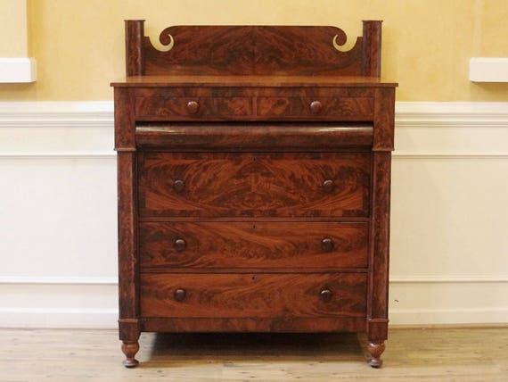 buy popular 6ecf0 afd76 Large Antique Chest of Drawers, Dresser, 19th C., Flame Mahogany, Empire  Style, American C.1830.