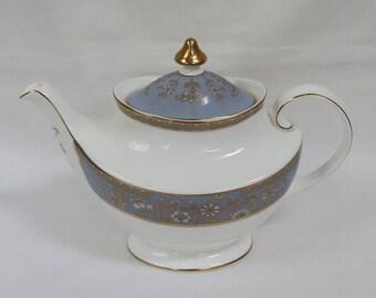 Rare Porcelain Teapot, Carlyle Blue Pattern, Royal Doulton , English. Blue, White and Gold.