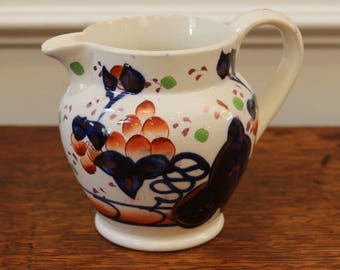 Antique Hand Painted Gaudy Welsh Pottery Jug, Oyster Pattern, 19th Century.
