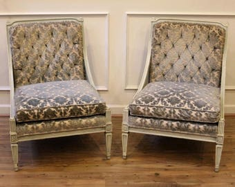 Pair of Vintage Accent Slipper Chairs, Mid Century, Hibriten Chair Co., Button Tufted, Green Painted Cane and Carved Wood Frame.