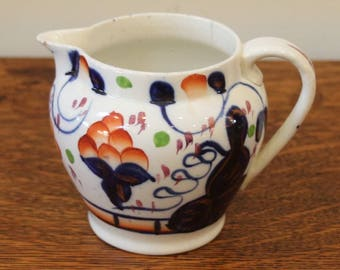 Antique Gaudy Welsh Porcelain Jug, Oyster Pattern, 19th Century.