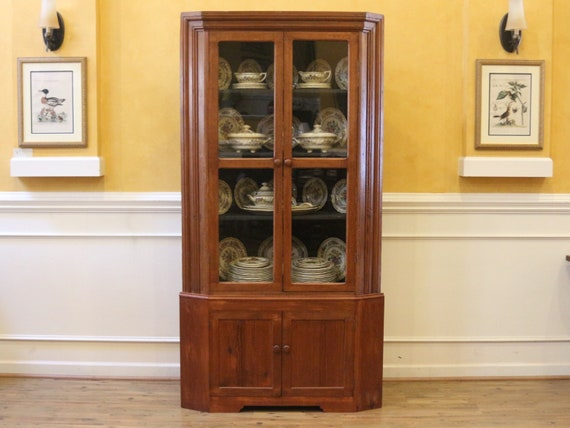Large Antique Pine And Oak Corner China Cabinet Cupboard With Etsy
