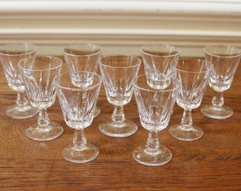 Vintage Small Aperitif Glasses,Stemmed Cut Crystal, Set of 9, Clear Glass.