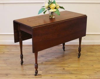 Antique Drop Leaf Dining Table, Cherry Wood, Rustic Farmhouse, Console or Sofa table. American C.1880.
