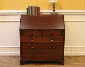 Antique Secretary Desk, Drop Front Bureau, Mahogany Early 19th C, English.