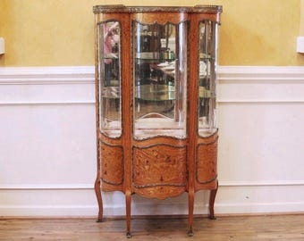 ON HOLD For Linda! Antique French Vitrine, Curio, China cabinet, Inlaid Marquetry, Louis XV Style, 19th Century, Display cabinet.