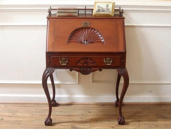 image 0 - Antique Mahogany Secretary Ladies Writing Desk Chippendale Etsy