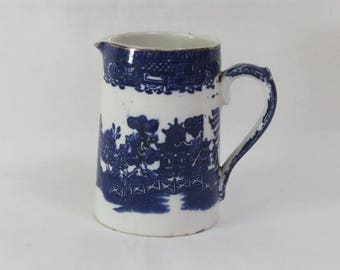 Antique Blue & White Ironstone Jug/Creamer, Old Willow Pattern, England. C. 1920.