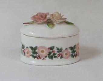 Vintage Porcelain Trinket Box, English 'Coalport' Pink Roses Oval Ring Box.