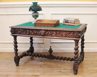 Antique English Oak Desk, Carved Barley Twist and Green Man, Library, Card, Game Table C.1880.