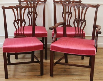 Antique Dining Chairs, Carved Mahogany, Chippendale Style, Straight Legs, Set of 4.