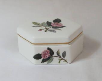 Vintage Wedgwood Porcelain Trinket Box. Hexagonal shape. Pink Rose 'Hathaway' Pattern. English.
