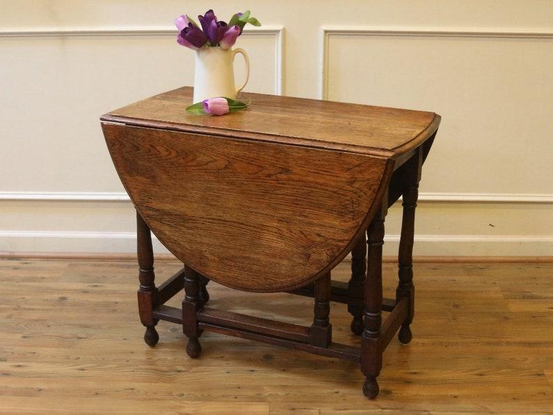 Antique English Oak Drop Leaf Dining Table Rustic Gate Leg Etsy