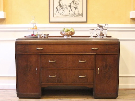 Art Deco Walnut Sideboard Mid Century Buffet Server American Etsy