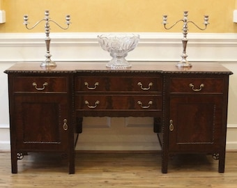 Antique Sideboard, Buffet, Chippendale Style, Carved, Flame Mahogany, English C.1900