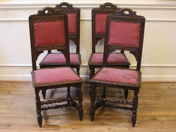 Excellent Antique English Oak Dining Chairs Hand Carved Barley Twist 19Th Century Set Of 4 Pabps2019 Chair Design Images Pabps2019Com
