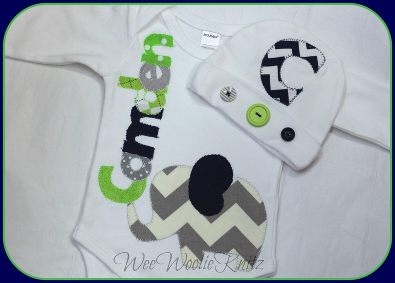 6476a70ed0b Boys Personalized Newborn Elephant Coming Home Outfit