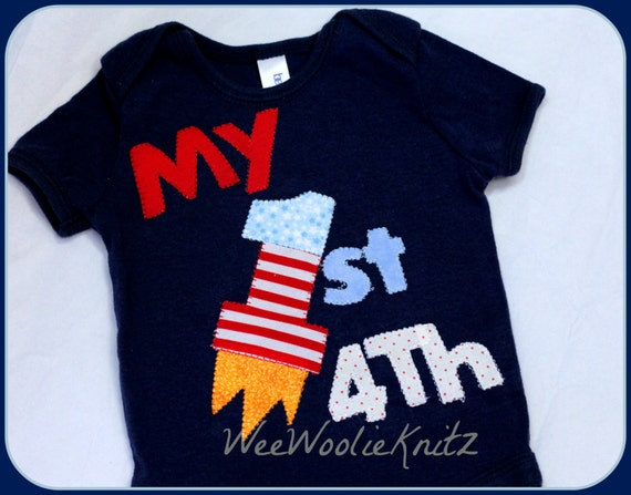 White, 24 Months Festive Threads Unisex Baby Babys First 4th Of July T-Shirt Romper