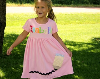 Girls Back to School Dress- Personalized- Birthday Dress- School Outfit- 1st Day of Kindergarten- Holiday-YOU DESIGN