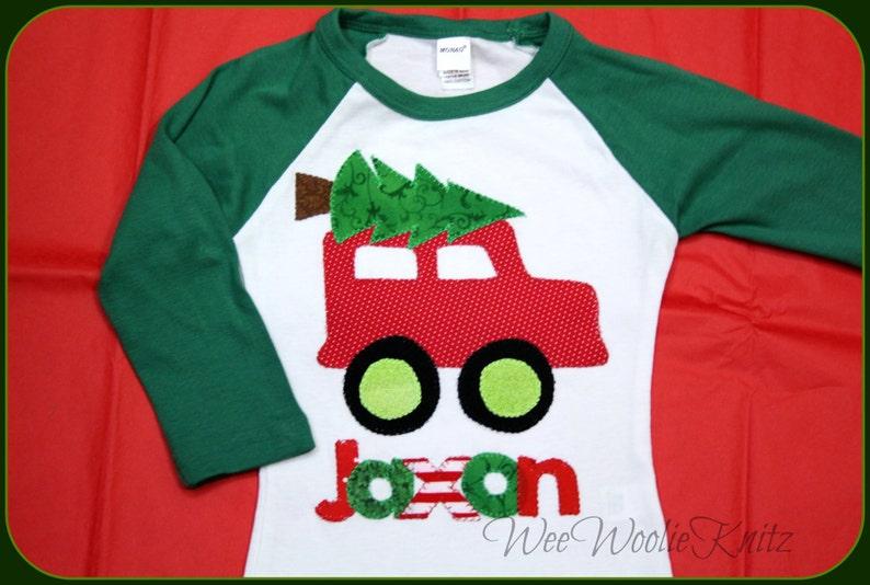 c8f36ba44 Christmas Truck Personalized T Shirt Bodysuit Boys Car Bib | Etsy