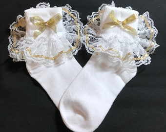 Lacy Socks with Metallic Gold Ribbon (size Small)