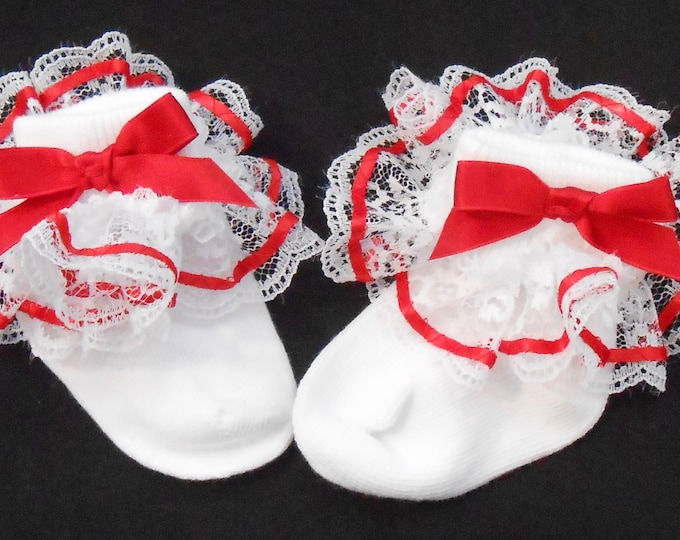 Featured listing image: Lacy Socks with Red Ribbon (Newborn size)