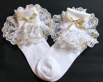 Lacy Socks with Metallic Gold Ribbon (size X Small)