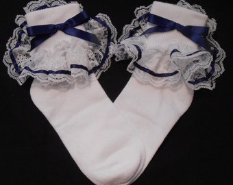 Lacy Socks with Navy ribbon detail (Small size)
