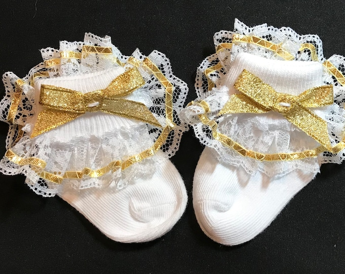 Featured listing image: Lacy Socks with Metallic Gold Ribbon (Newborn size)