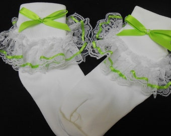Lacy Socks with Bright Green ribbon detail (Medium)