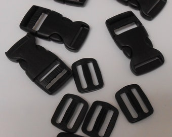 1 inch Side Release Buckle and Tri-Glide, 5 Pack
