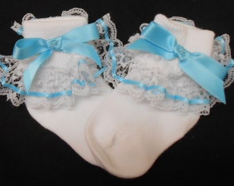 Lacy Socks with Aqua Ribbon Detail (Infant size)