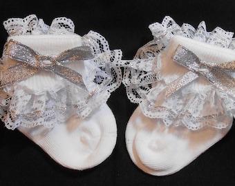 Lacy Socks with Glittery Silver Metallic  Ribbon (Newborn size)