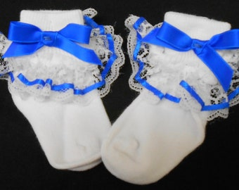 Lacy Socks with Electric Blue Ribbon Detail (Infant size)