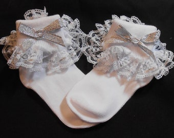 Lacy Socks with Glittery Silver Metallic Ribbon (Toddler size)